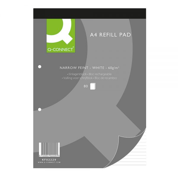 Q-Connect Narrow Feint Ruled Headbound Refill Pad 160 Pages A4