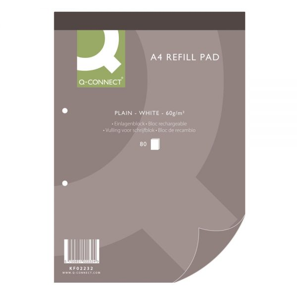 Q-Connect Plain Headbound Refill Pad 160 Pages A4
