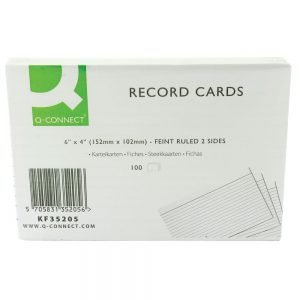 Q-Connect Record Card 152x102mm Ruled Feint White (100 Pack)