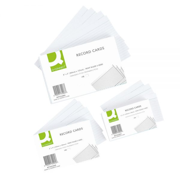 Q-Connect Record Card 203x127mm Ruled Feint White (100 Pack)